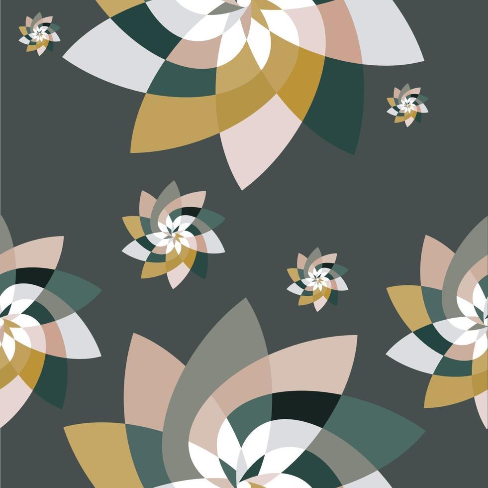 motif de dispersion de fleur graphique fond or vert vecteur