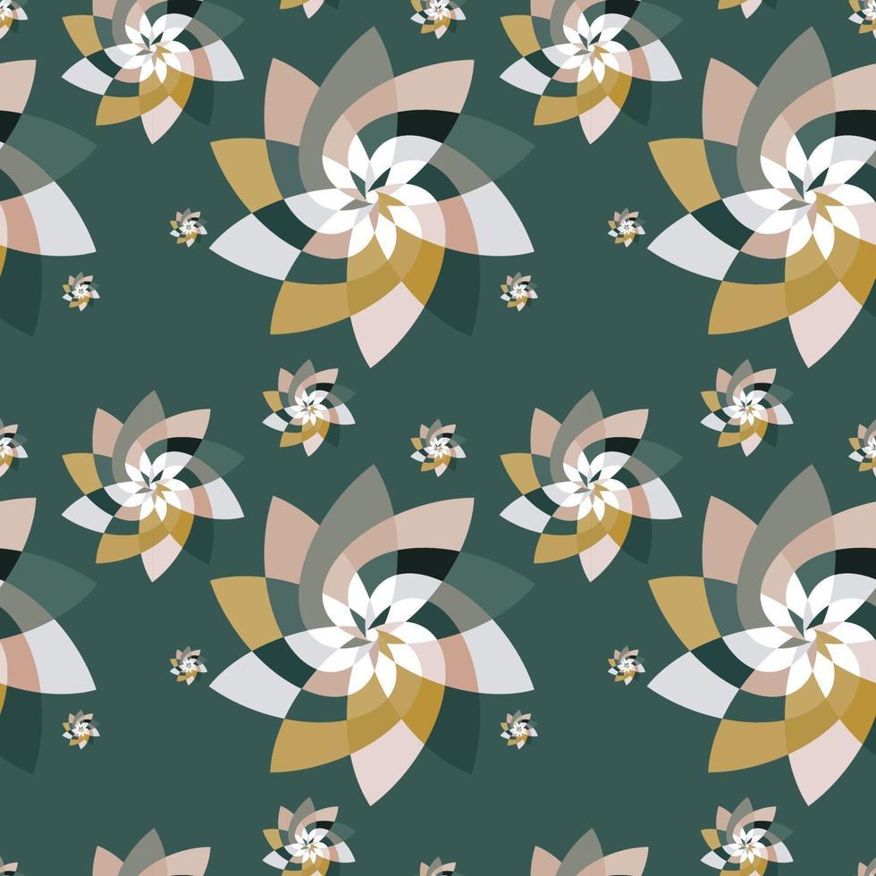 motif de dispersion floral graphique fond or vert vecteur