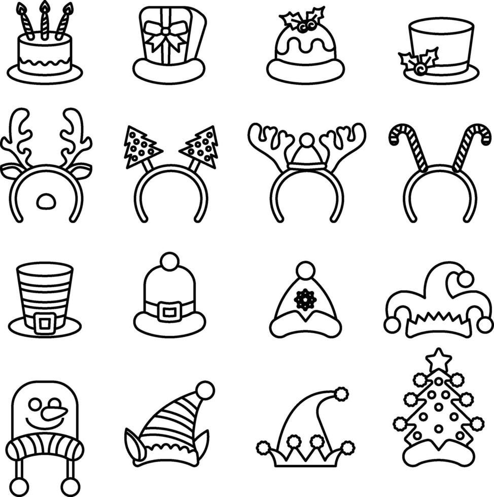 ensemble d'image vectorielle de chapeaux festifs. vecteur