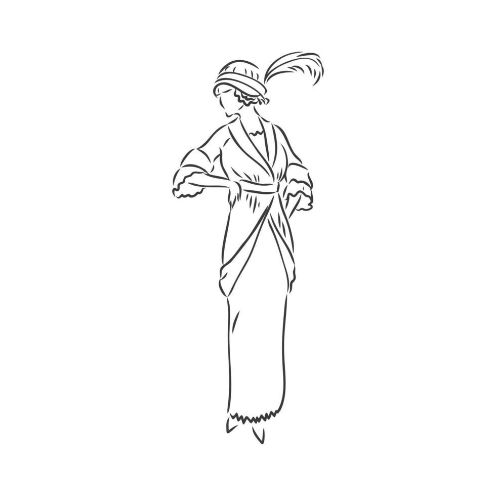 dame habillée antique. illustration vectorielle à l'ancienne. femme victorienne en robe historique. dessin stylisé vintage, style de gravure sur bois rétro. robe rétro, croquis de vecteur sur fond blanc