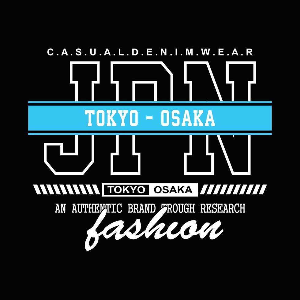 conception de t-shirt de typographie en denim japon tokyo-osaka vecteur