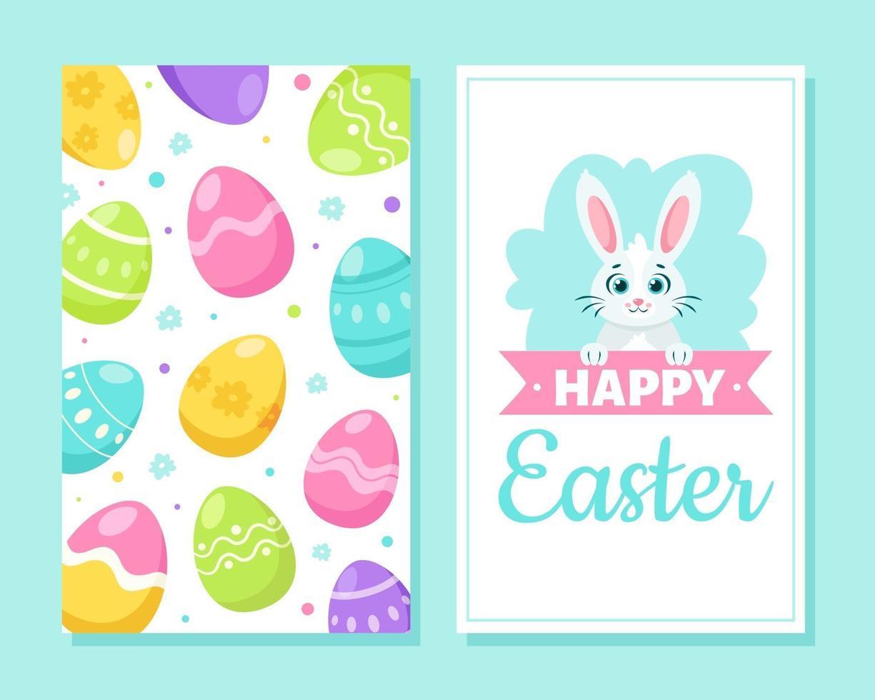 carte de voeux joyeuses Pâques. oeufs de pâques, oreilles de lapin, fleurs, papillon. illustration vectorielle vecteur