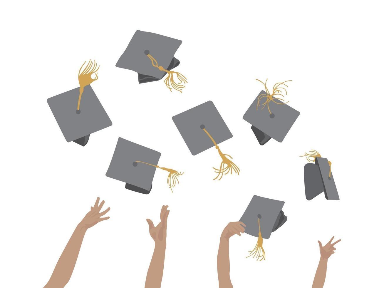 graduation célébration chapeau jetant illustration graphique vecteur