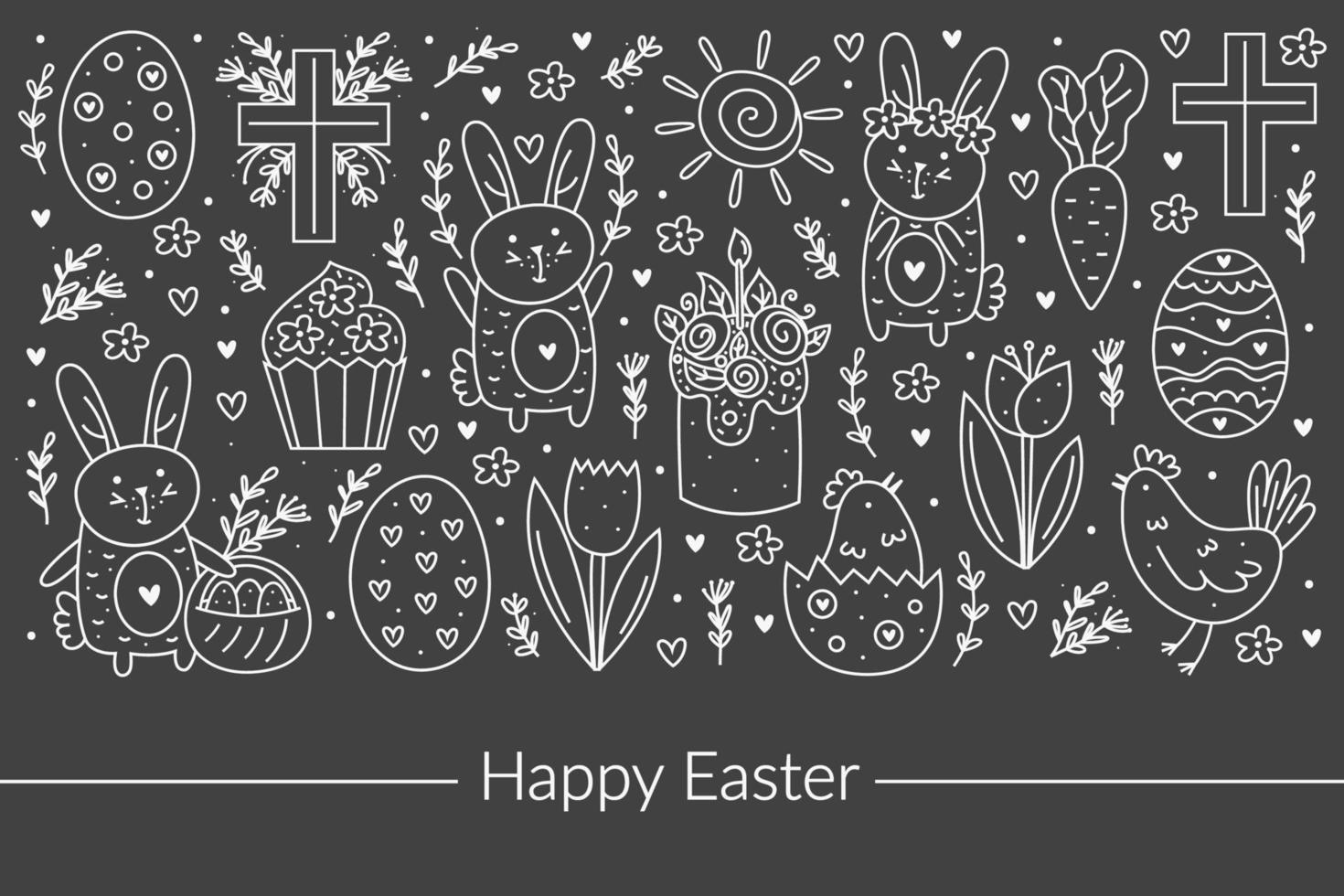 conception d'art de ligne joyeuses Pâques doodle. éléments de conception de tableau de craie. lapin, lapin, croix chrétienne, gâteau, petit gâteau, poulet, œuf, poule, fleur, carotte, soleil. isolé sur fond sombre. vecteur