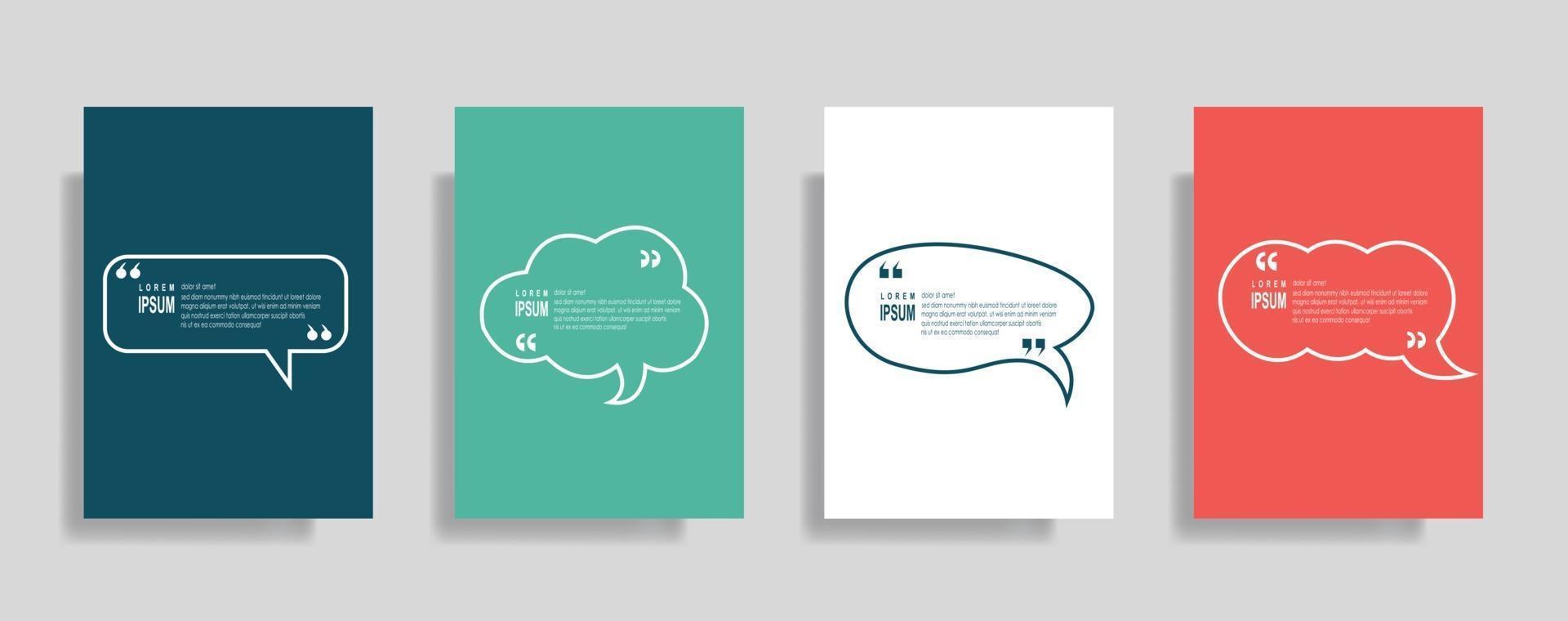 cite ensemble de modèles vierges de cadre. texte entre parenthèses, citation de bulles vides. zone de texte isolée sur fond de couleur vecteur