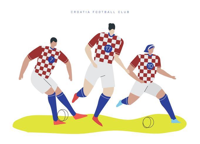 Joueur de football Coupe du monde de Croatie Falt Vector Illustration de caractère