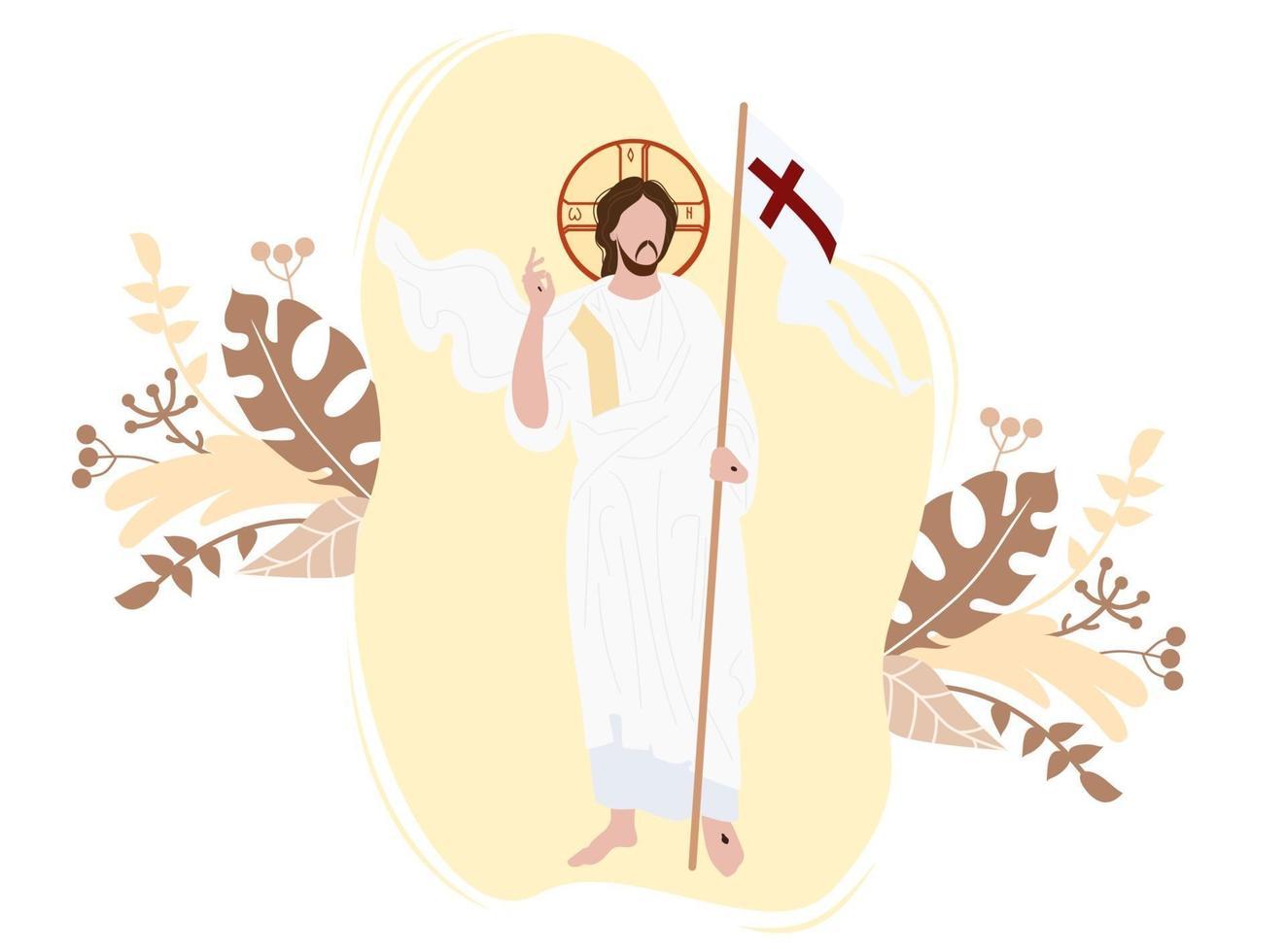 icône de la résurrection du christ. il a vaincu la mort et a été ressuscité. le christ se dresse avec le drapeau de la victoire sur fond à décor. illustration vectorielle vecteur