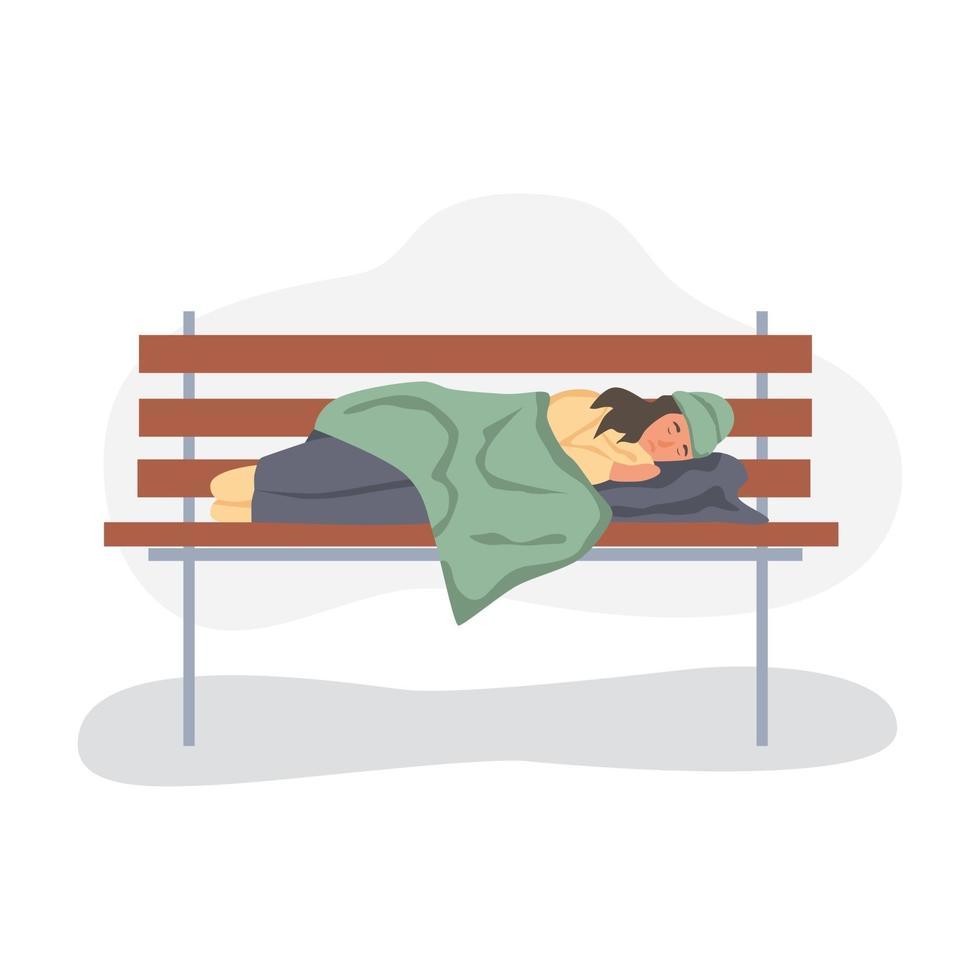 femme sans-abri dormant sur un banc de parc vecteur