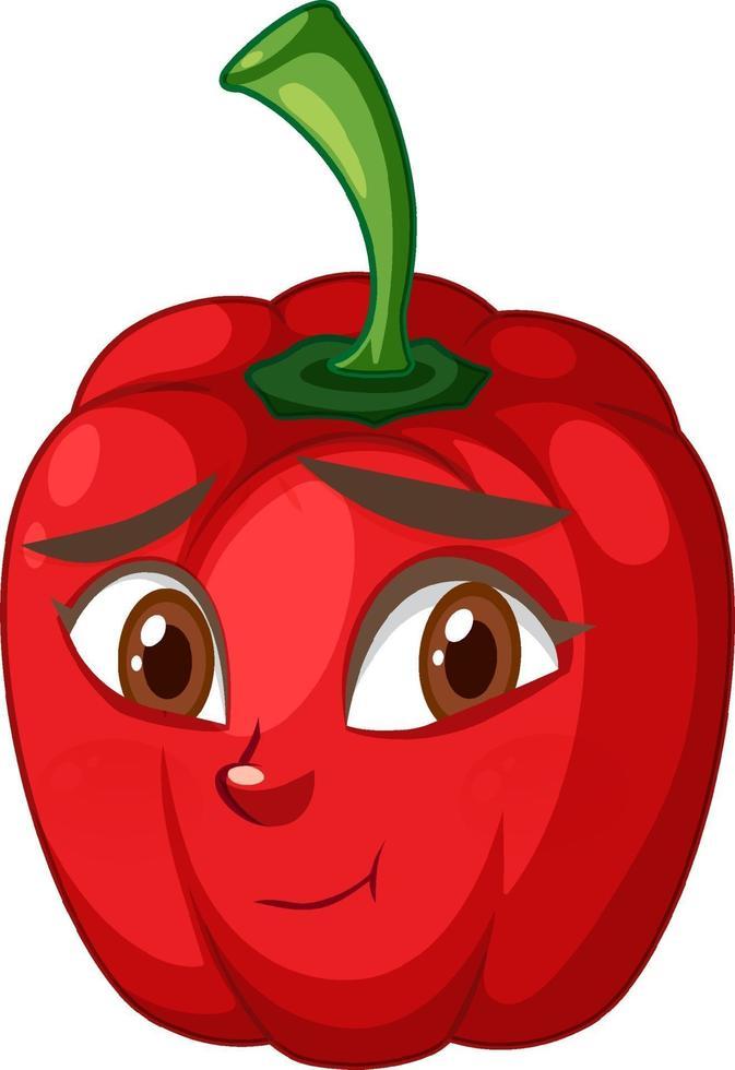 personnage de dessin animé de capsicum avec expression faciale vecteur