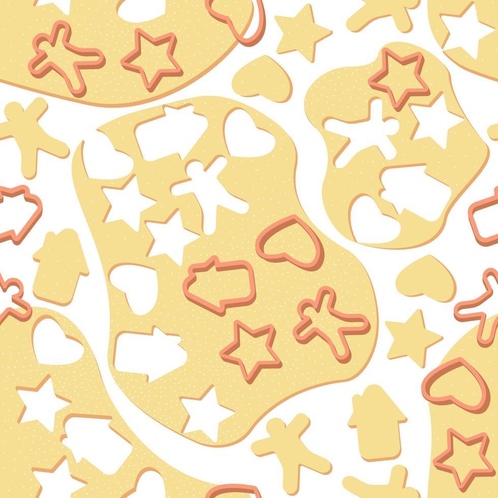 pâte de modèle sans couture avec des formes pour les biscuits et les biscuits de pain d'épice vecteur
