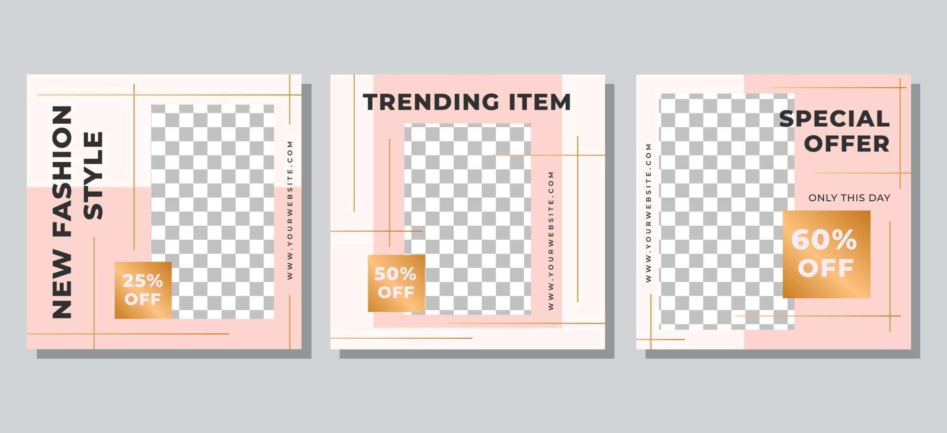 modèle de publication sur les médias sociaux de vente de mode vecteur