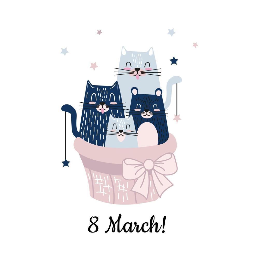 chats drôles de bande dessinée dans le panier. bonjour la carte du 8 mars au printemps. illustration vectorielle mignon pour cartes postales, bannières et enfants vecteur