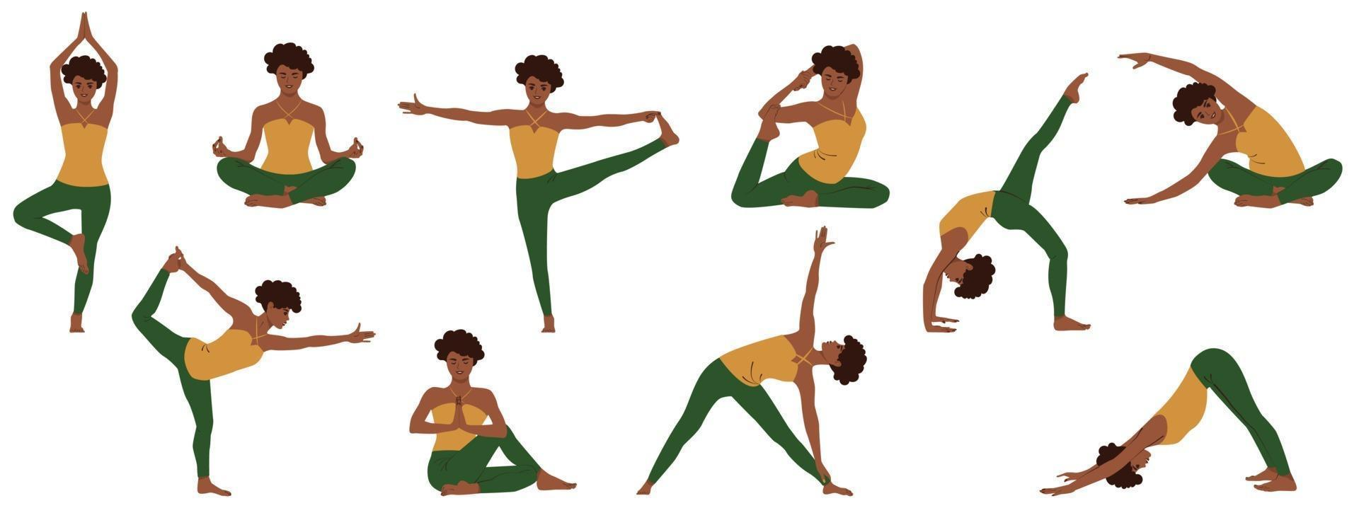 ensemble de poses de yoga. collection de jeune femme afro-américaine démontrant diverses positions de faire des asanas de l'insomnie et pour se détendre. illustration vectorielle plane isolée vecteur