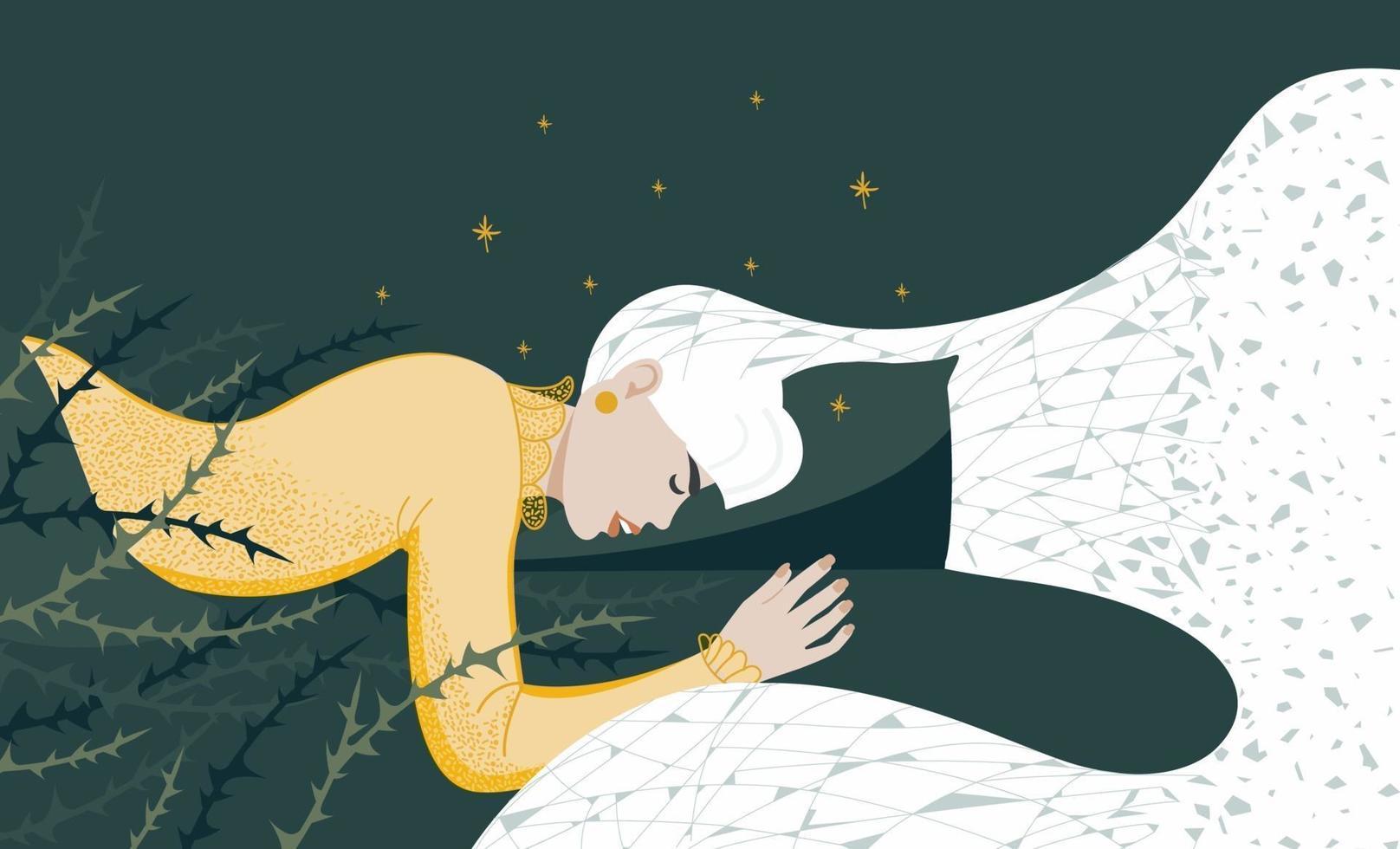 la jeune femme ne dort pas bien, est agitée. mauvais rêves, douleur nocturne. illustration vectorielle plane vecteur