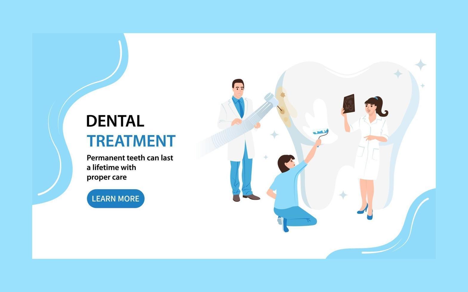 page de destination des soins dentaires. les dentistes de bannière Web prennent soin de la dent. illustration vectorielle plane vecteur