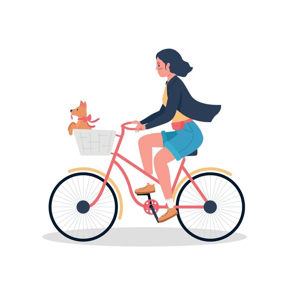 femme, équitation, sur, vélo, à, chiot, dans, panier, plat, couleur, vecteur, détaillé, caractère vecteur