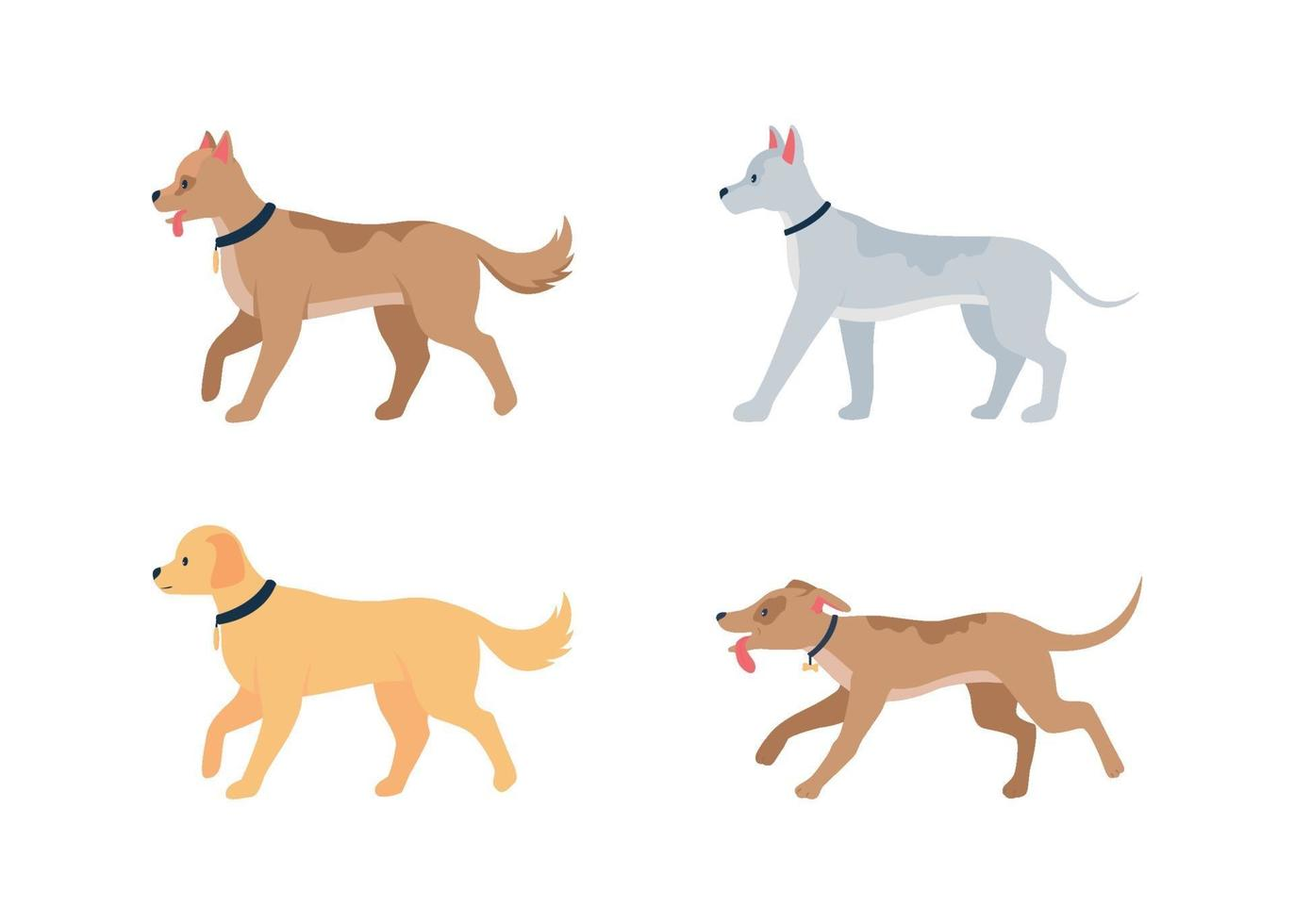 diverses races de chiens jeu de caractères détaillés de vecteur