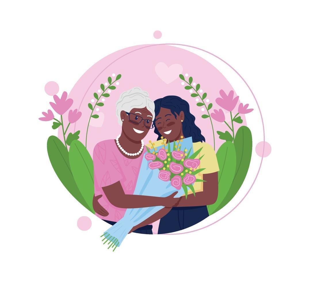fille afro-américaine et mère étreignant illustration vectorielle concept plat vecteur