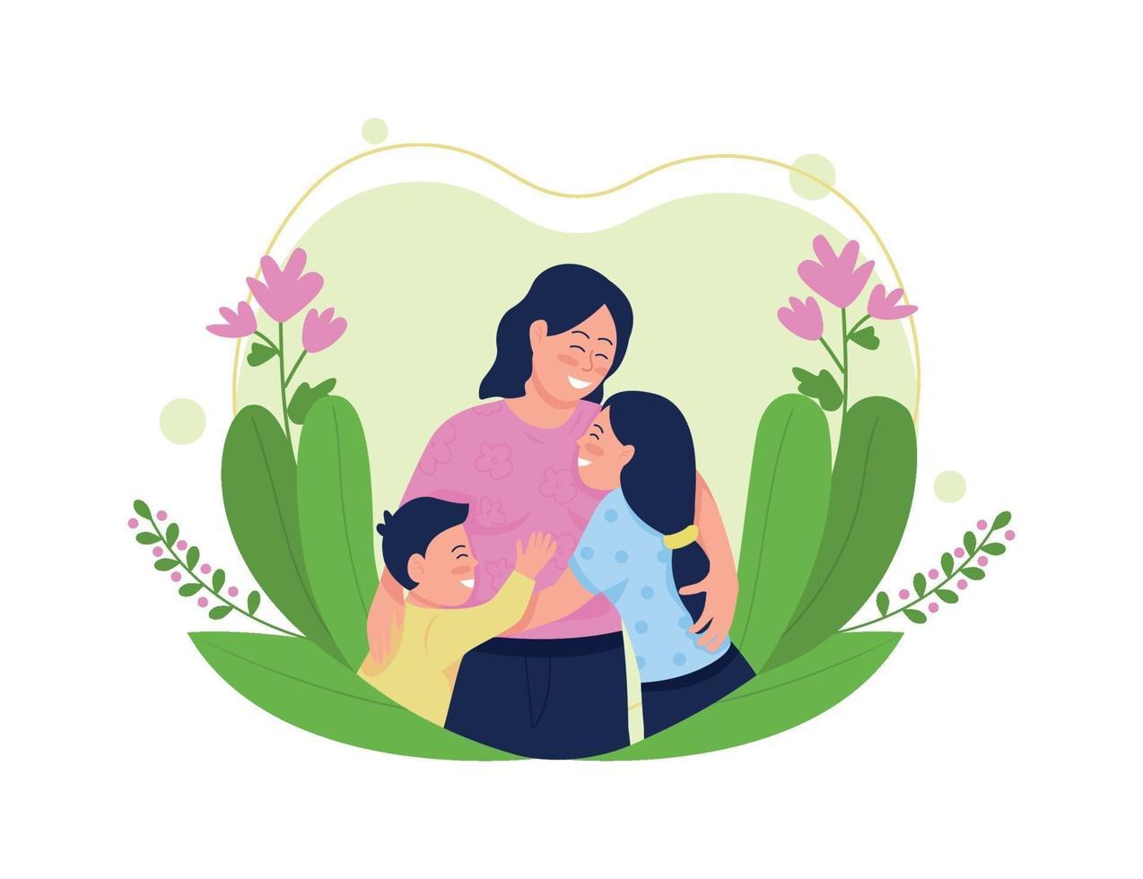mère heureuse avec illustration vectorielle enfants plat concept vecteur