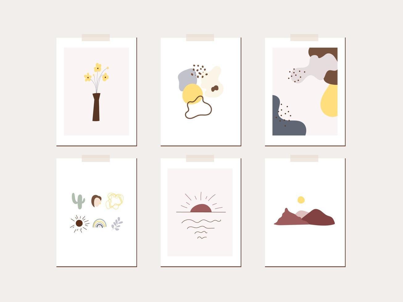 modèle d'affiche de carte de voeux humeur de printemps. feuilles minimalistes, fleurs, soleil, formes abstraites vecteur
