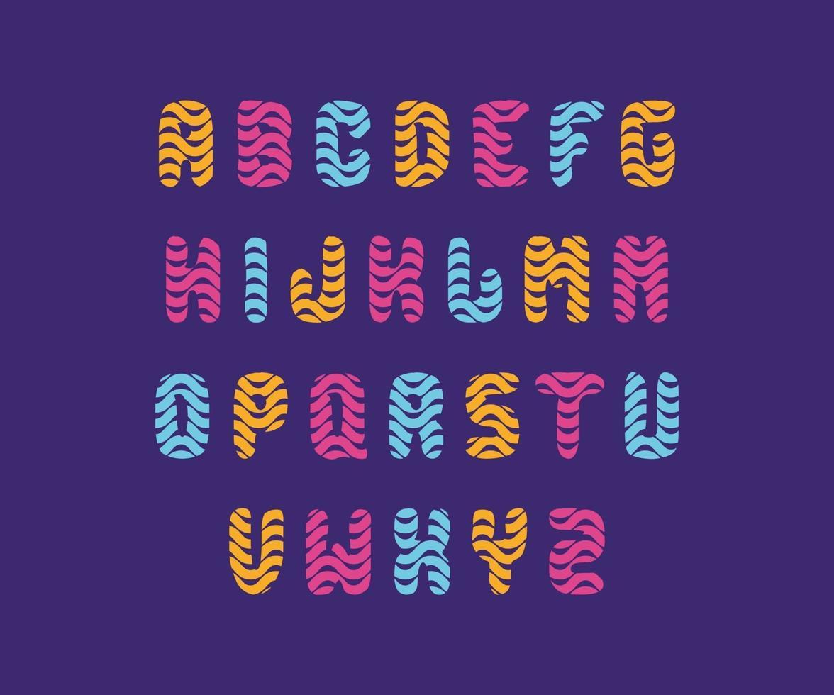polices colorées amusantes et arrondies avec des lignes ondulées, adaptées au logo, au monogramme, au titre et à la conception sur le thème des enfants vecteur