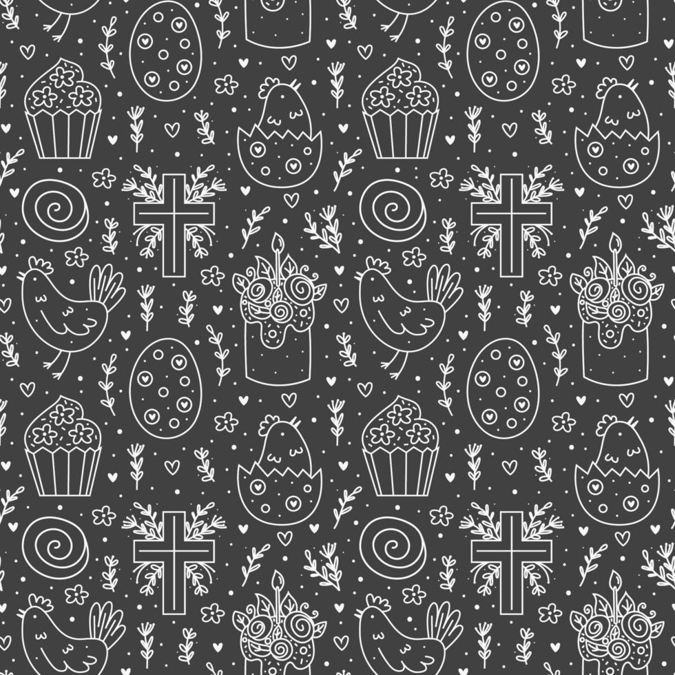 joyeuses fêtes de Pâques doodle dessin au trait monochrome. dessins au tableau. gâteau, cupcake croix chrétienne, poulet, oeuf, poule, fleur. modèle sans couture, texture. conception d'emballage. isolé sur fond sombre vecteur