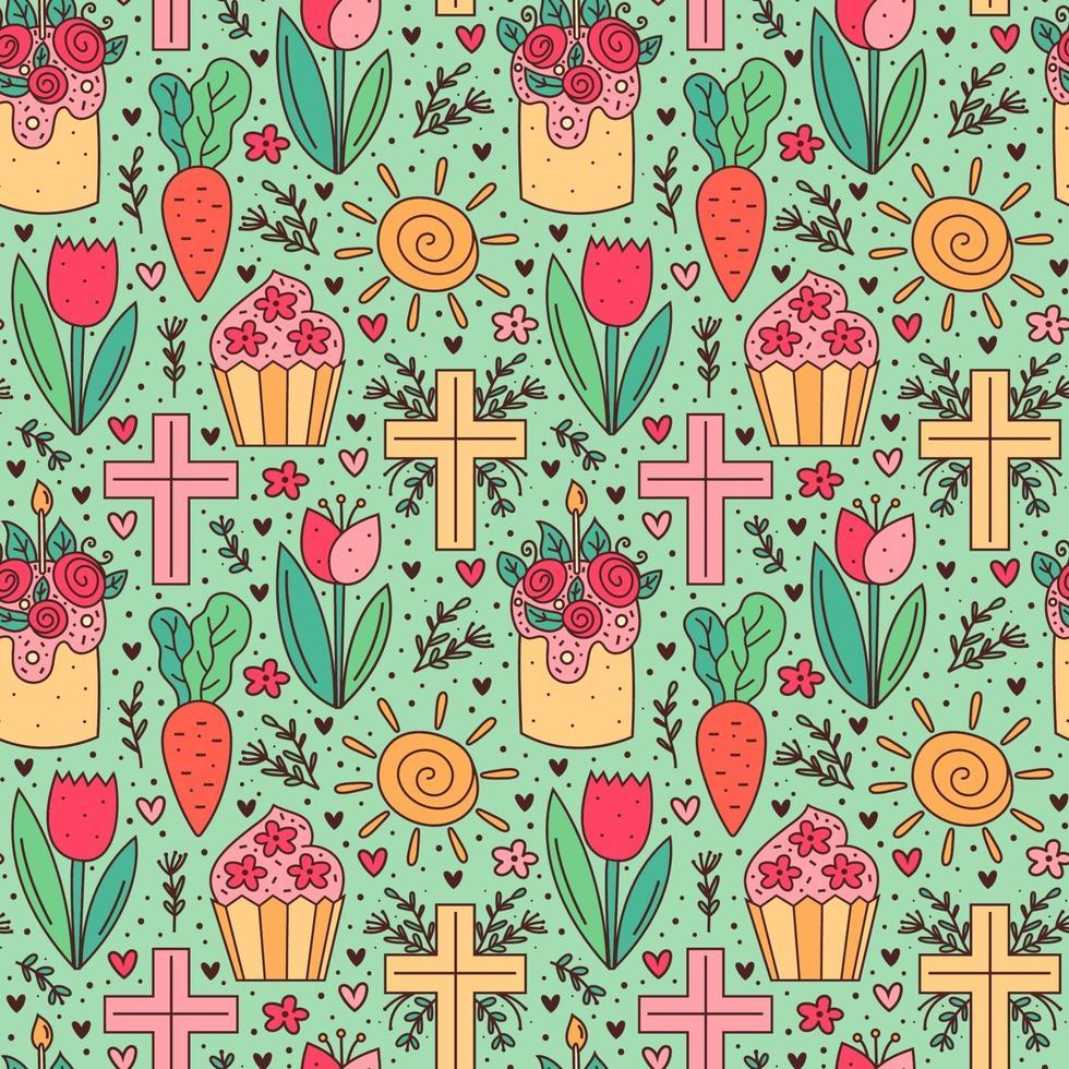 Joyeuses Pâques vacances doodle modèle sans couture. cupcake, gâteau, fleur de tulipe, croix chrétienne, soleil, carotte. conception de papier d'emballage. vecteur