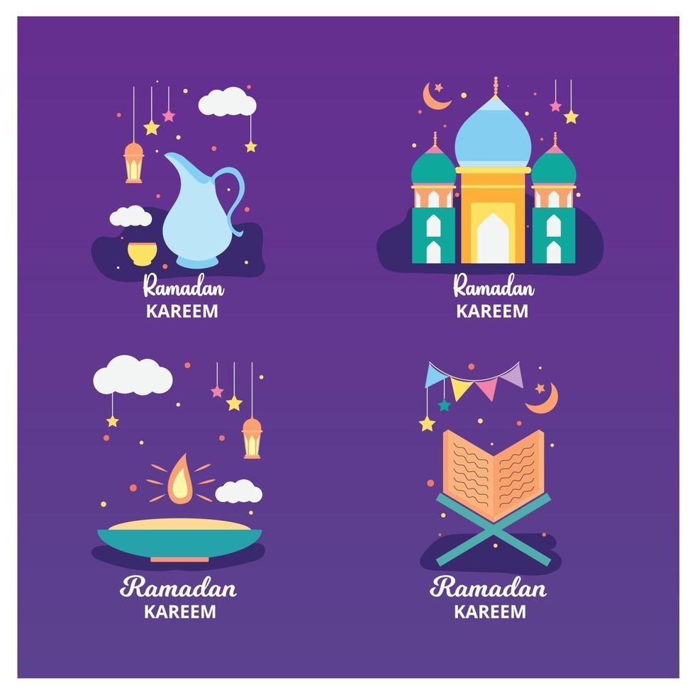 ramadan kareem badge et collection d'étiquettes. dessiné à la main. illustration vectorielle. vecteur
