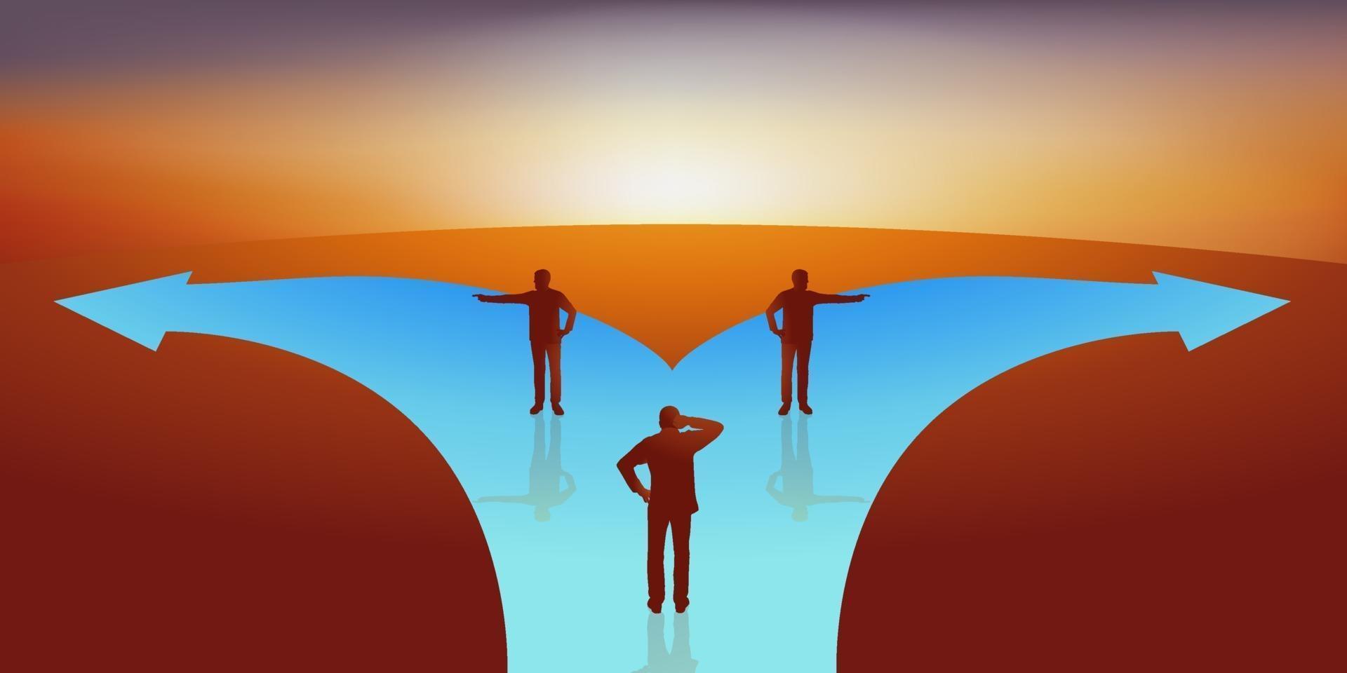 un homme doit choisir entre deux directions vecteur