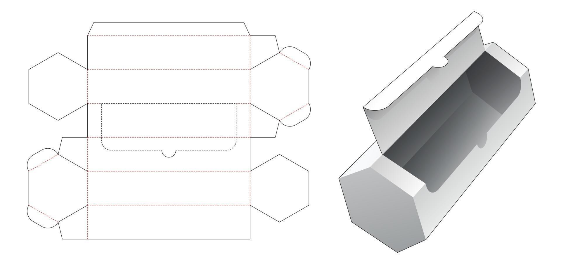 fermeture éclair longue boîte d'emballage hexagonale gabarit découpé vecteur