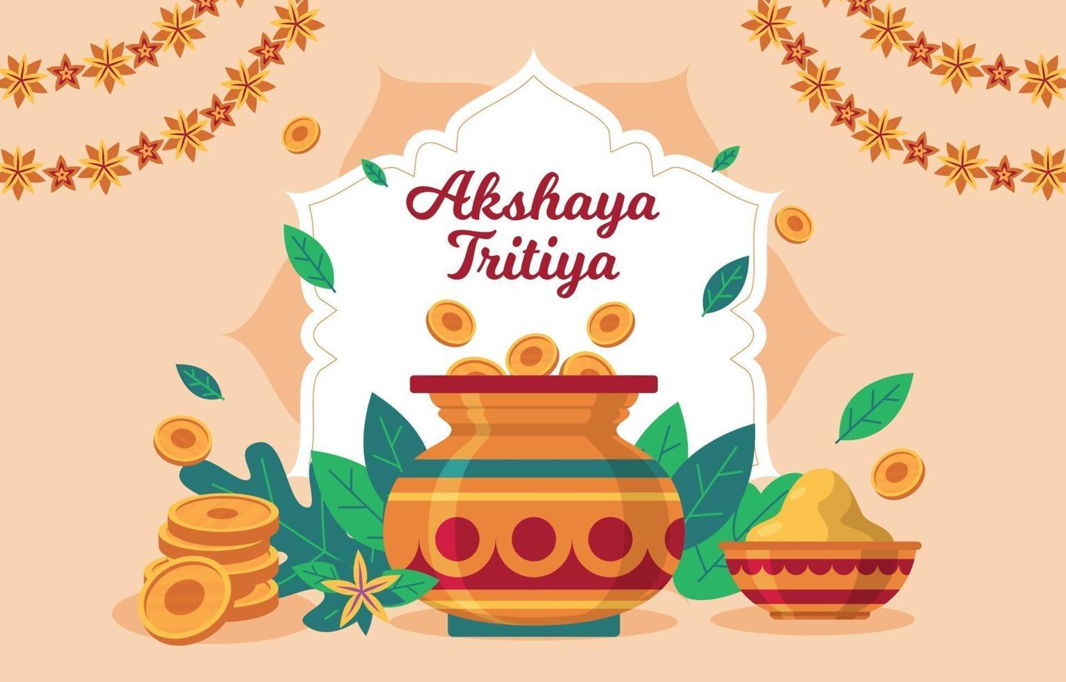 fond heureux akshaya tritiya vecteur