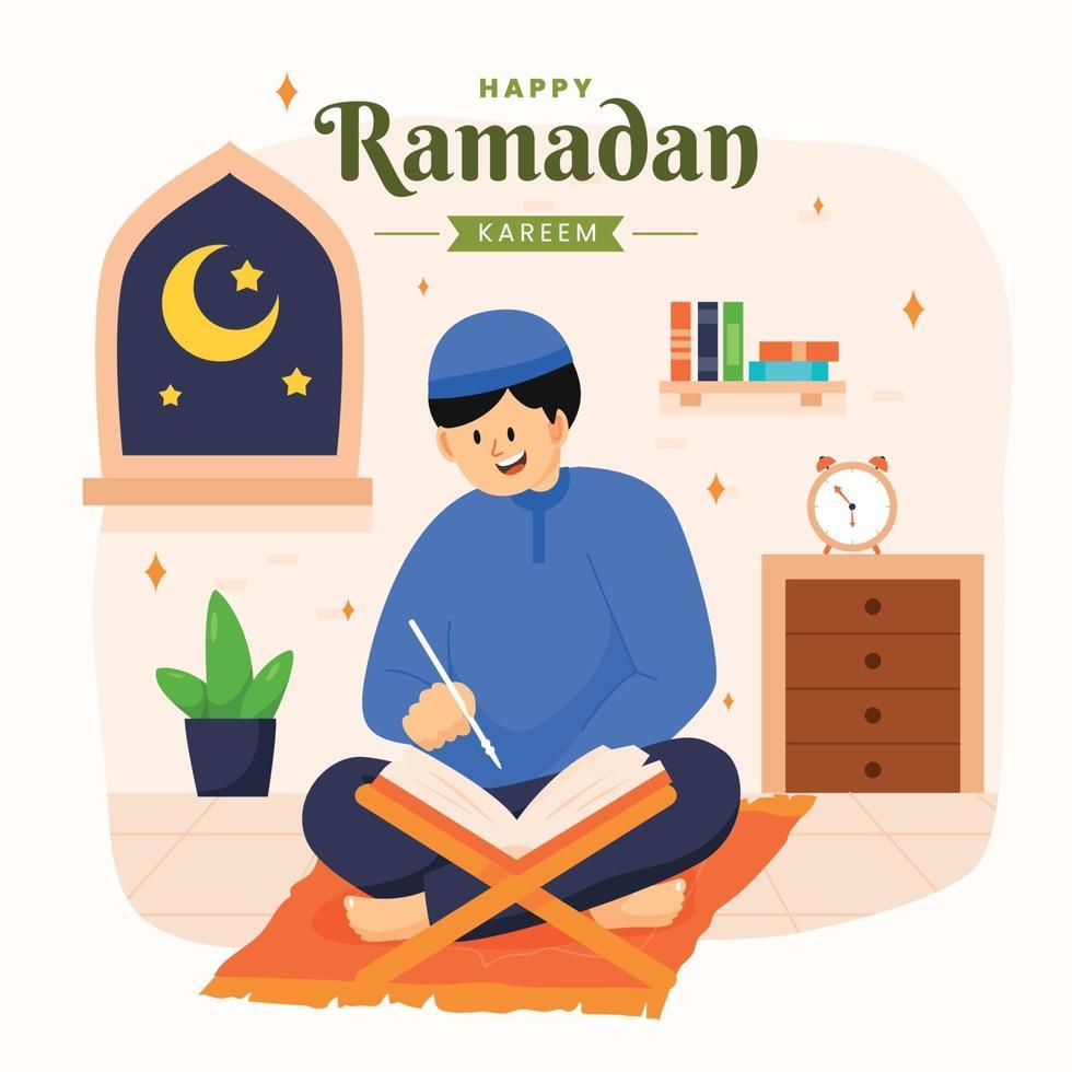 conception de ramadan kareem heureux vecteur