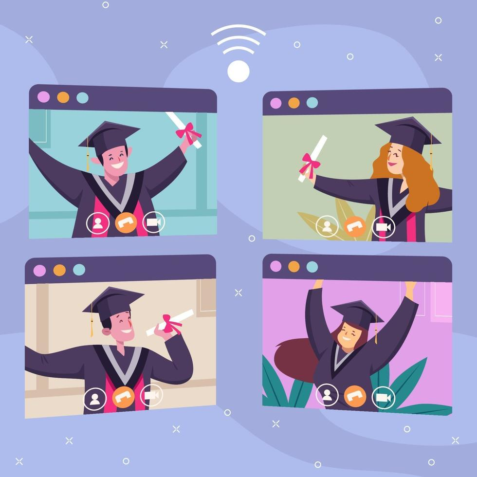 concept de graduation virtuelle en ligne vecteur