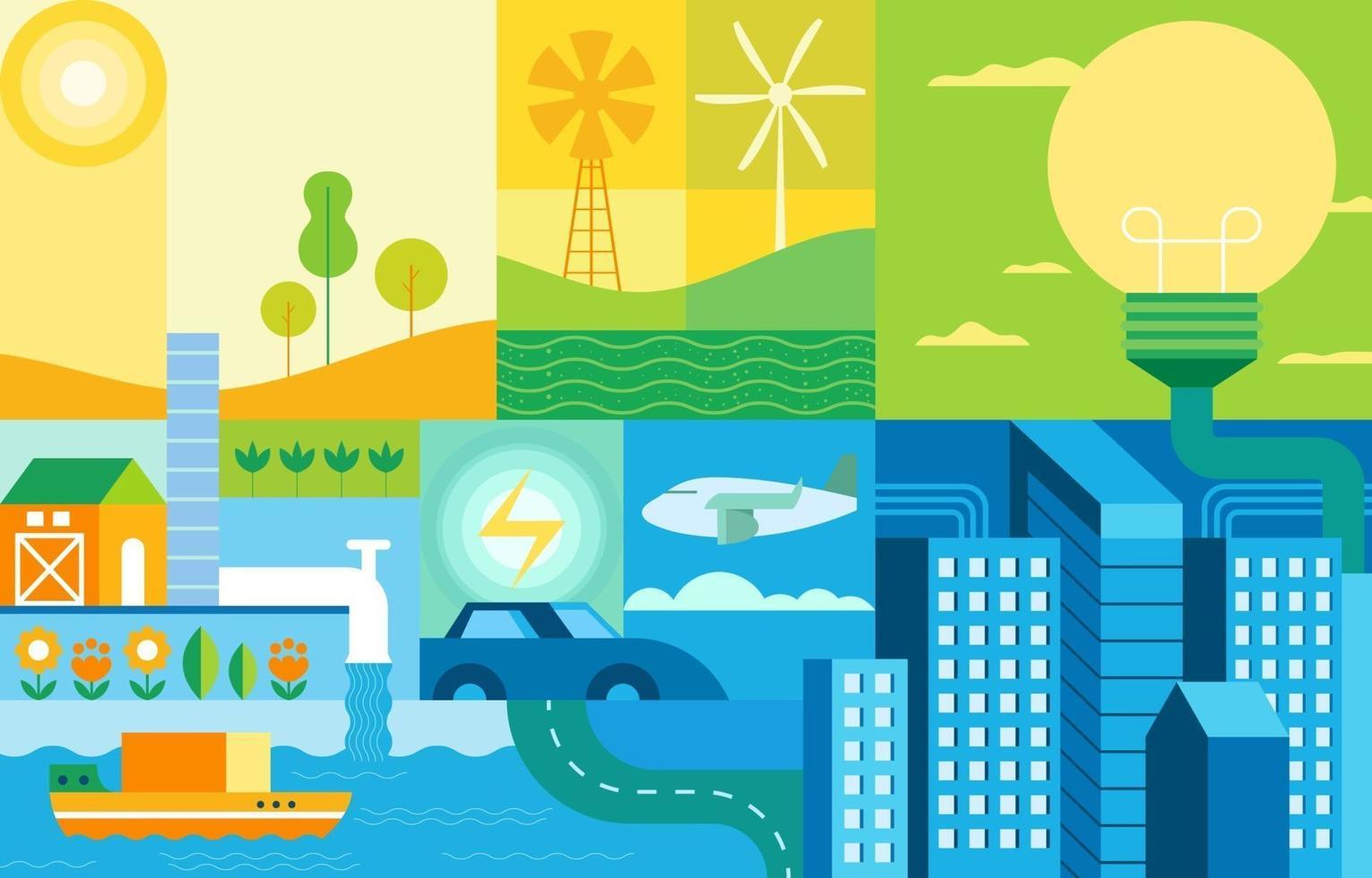 concept de collage de ville intelligente vecteur