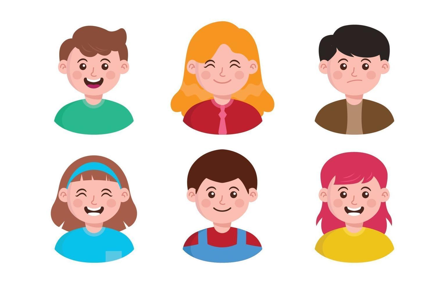 icône d & # 39; avatar enfants plats vecteur
