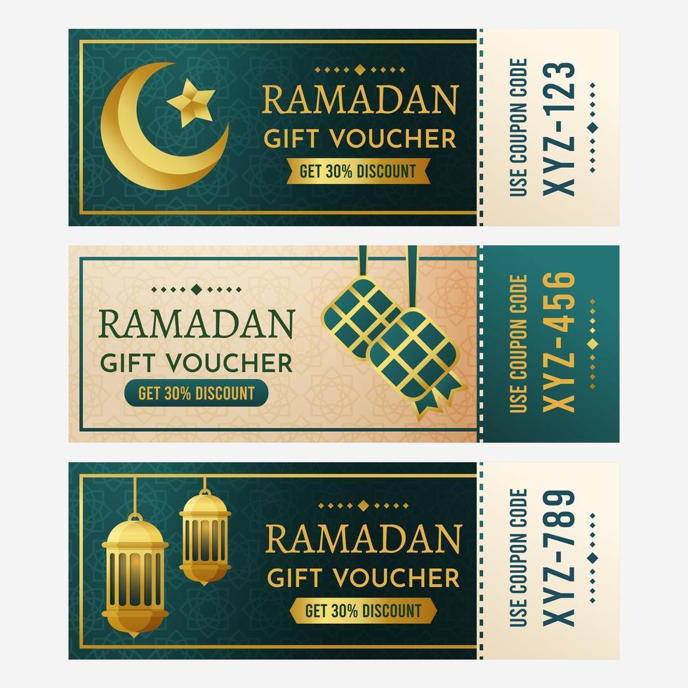 collections de chèques cadeaux ramadan vecteur