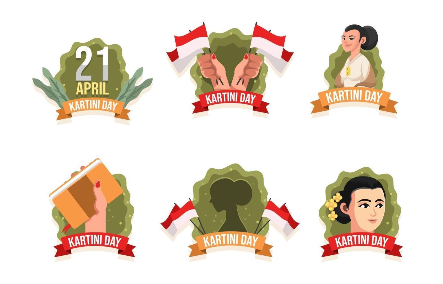 célébrant le badge de la journée kartini femme vecteur