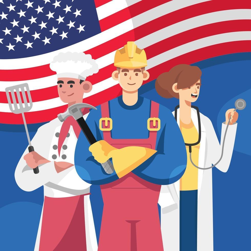 trois professions à la fête du travail vecteur