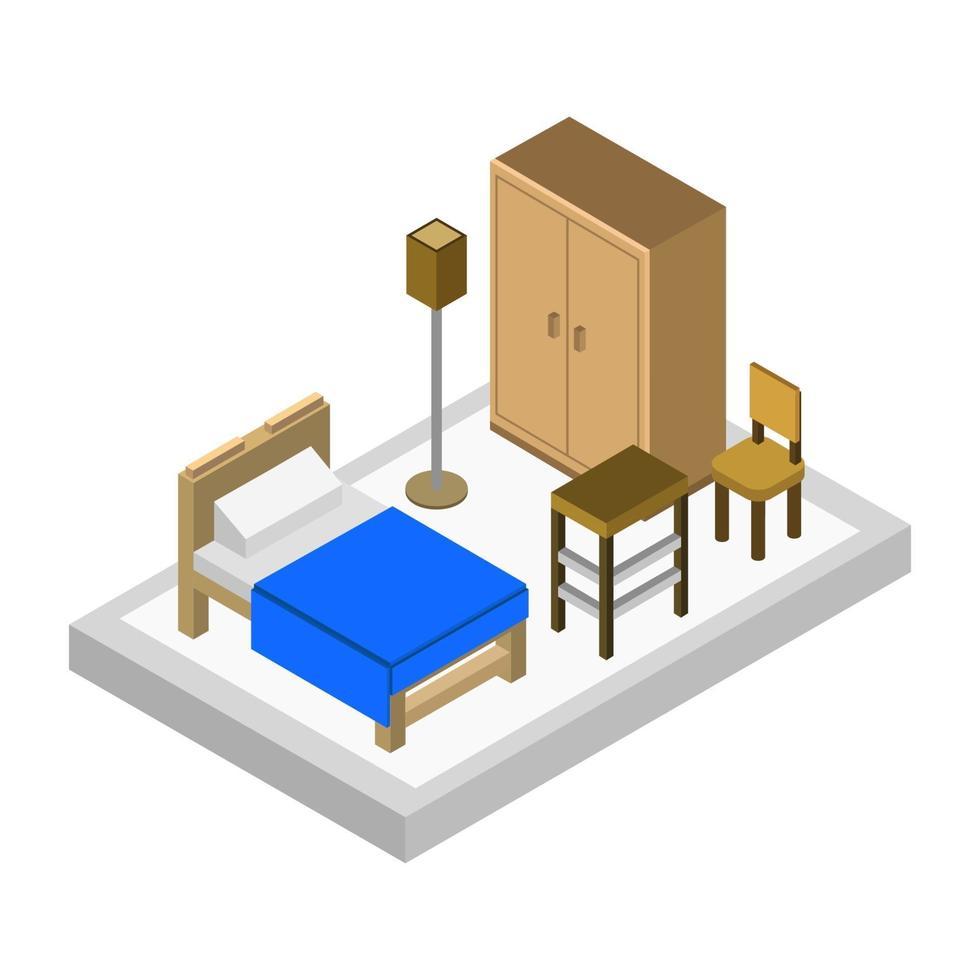 chambre isométrique sur fond blanc vecteur