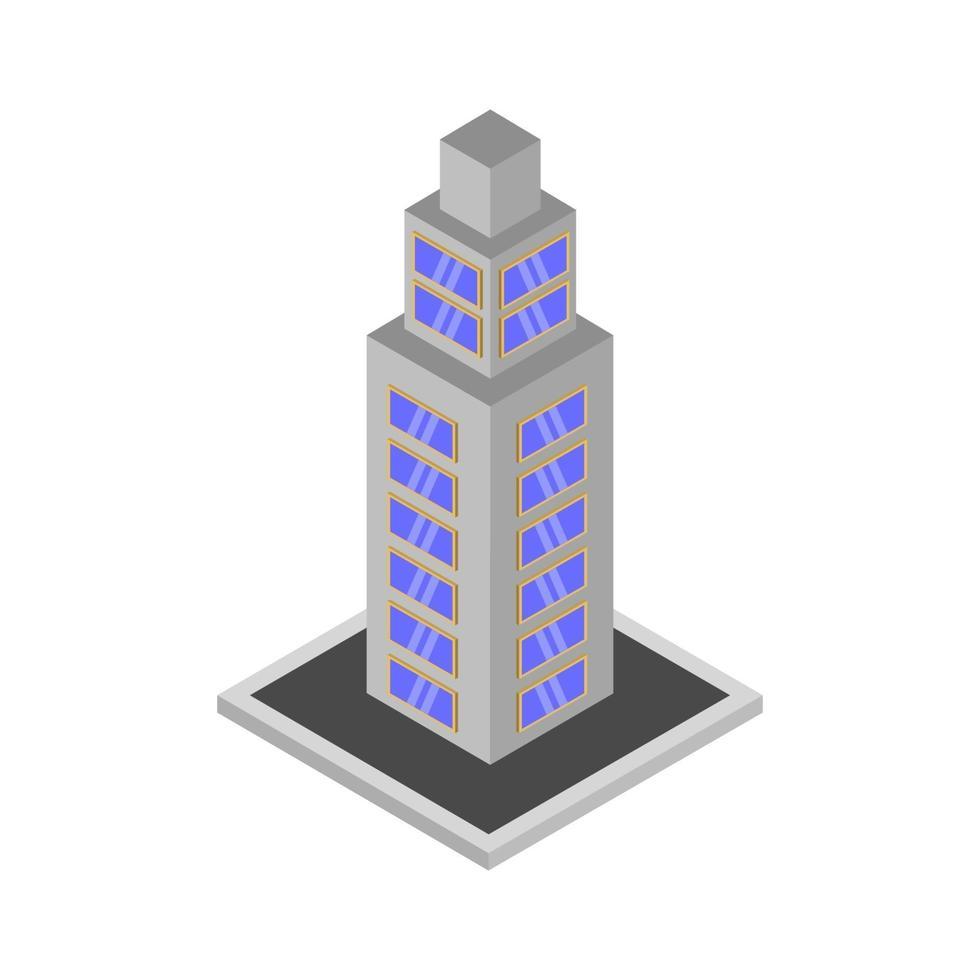 gratte-ciel isométrique sur fond blanc vecteur