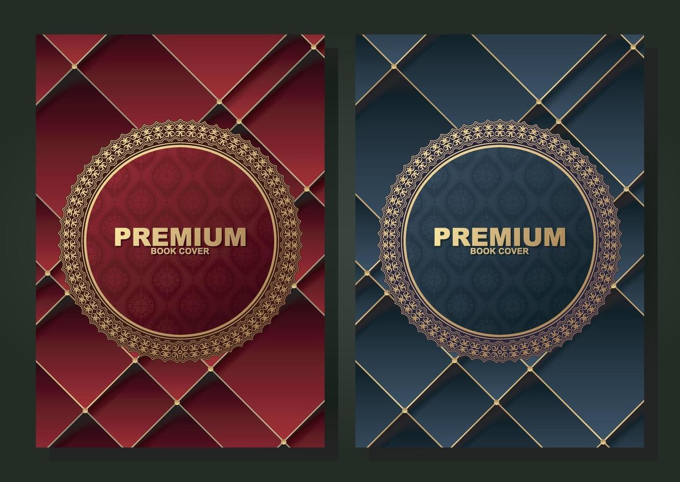 collection de conception de couverture de livre de cercle de bordure de luxe vecteur