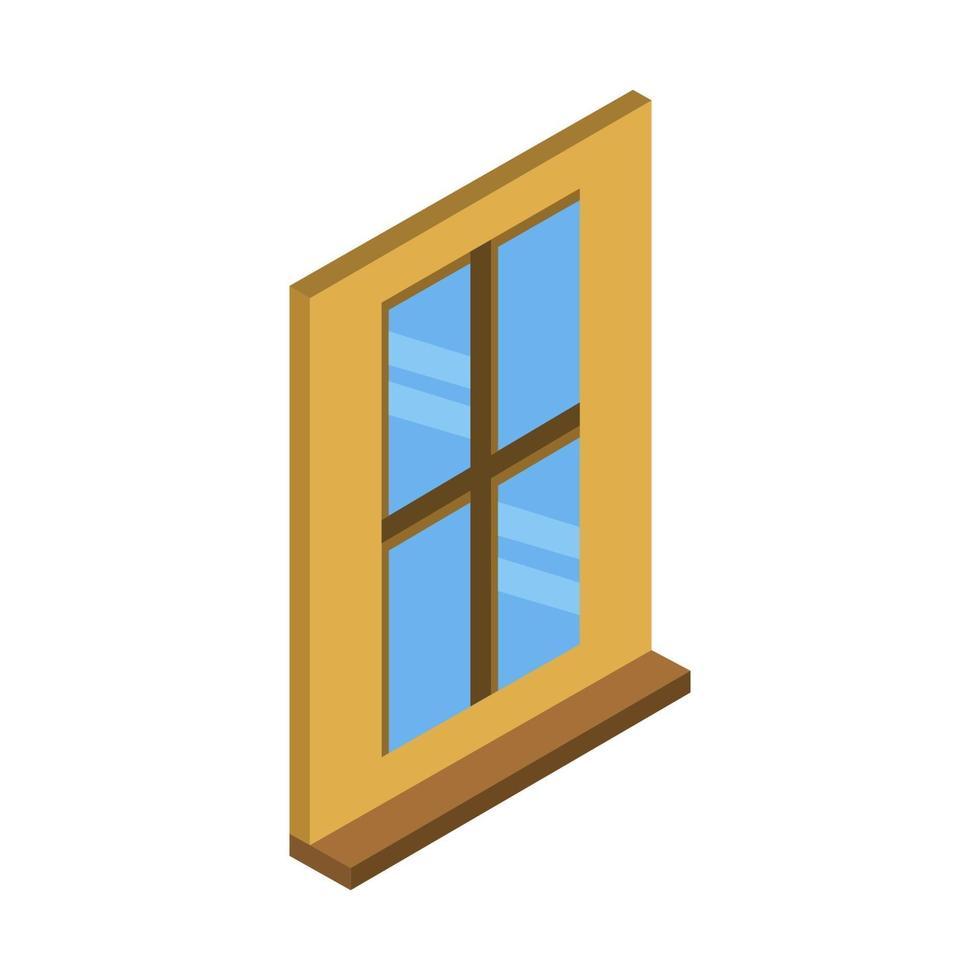 fenêtre isométrique sur fond blanc vecteur