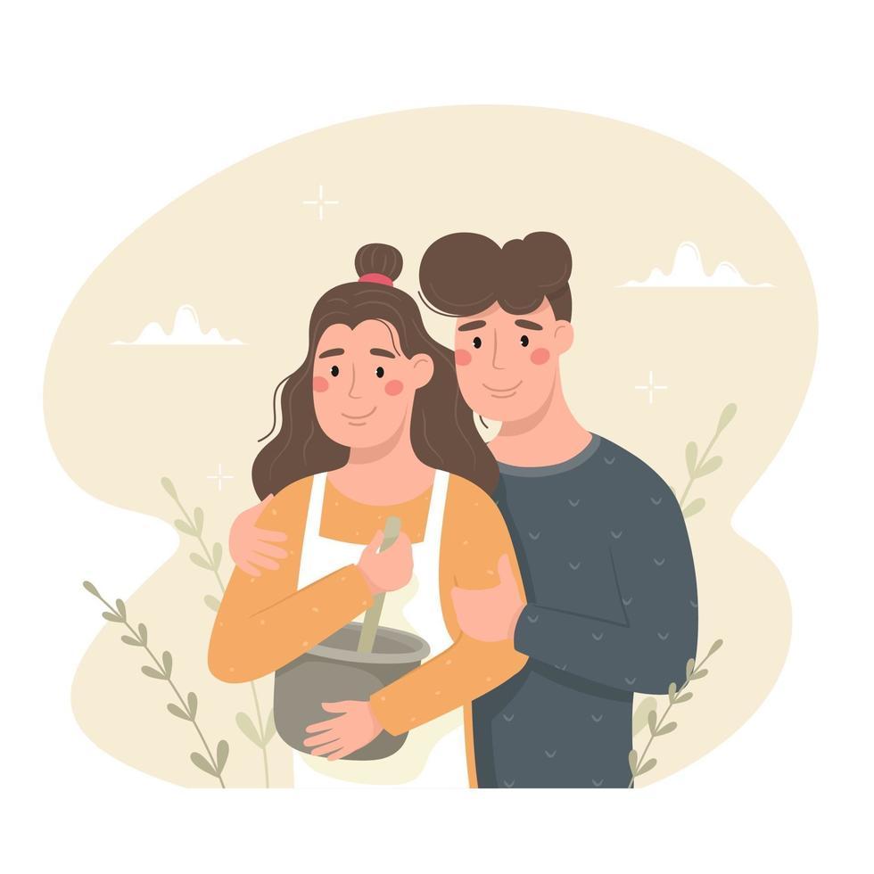 une jeune fille et un mec cuisinent ensemble, ils cuisinent ensemble. ambiance chaleureuse, gâteaux faits maison. illustration vectorielle vecteur