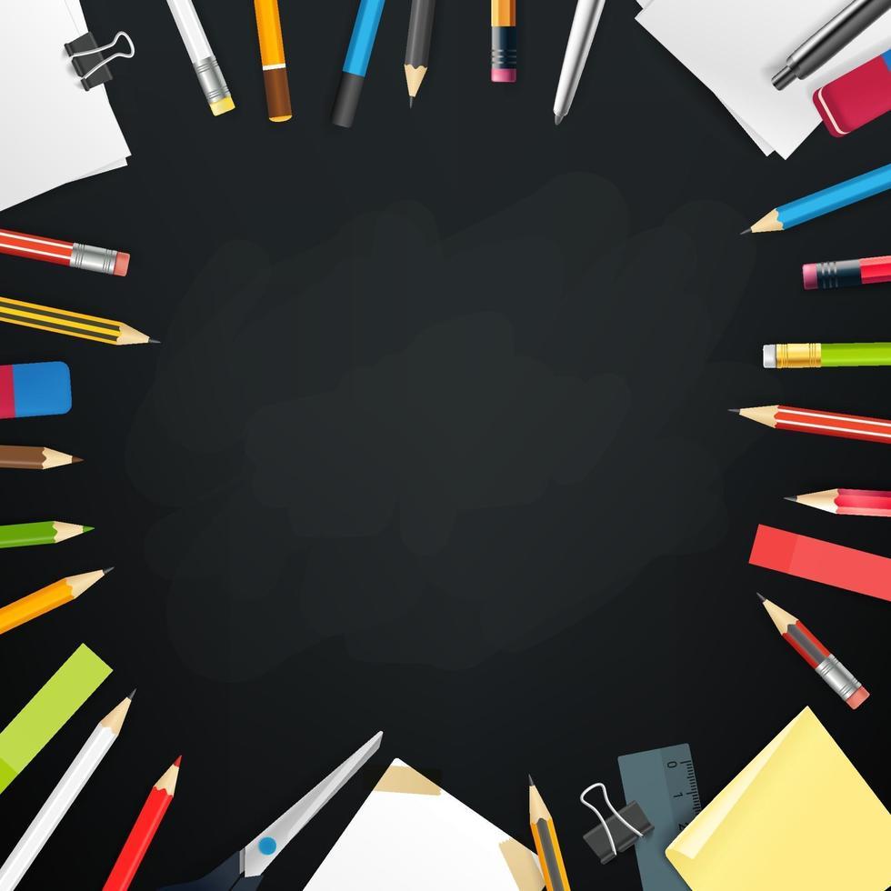 tableau de l'école avec différents objets. cadre de vecteur pour un texte
