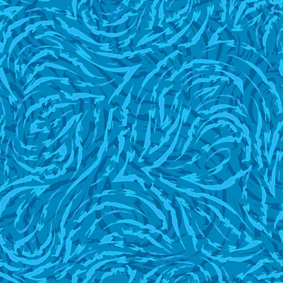 lignes fluides bleues et coins avec des bords déchirés sur un modèle sans couture de vecteur de fond de mer. texture abstraite ondule sur l'eau, motif de glace.
