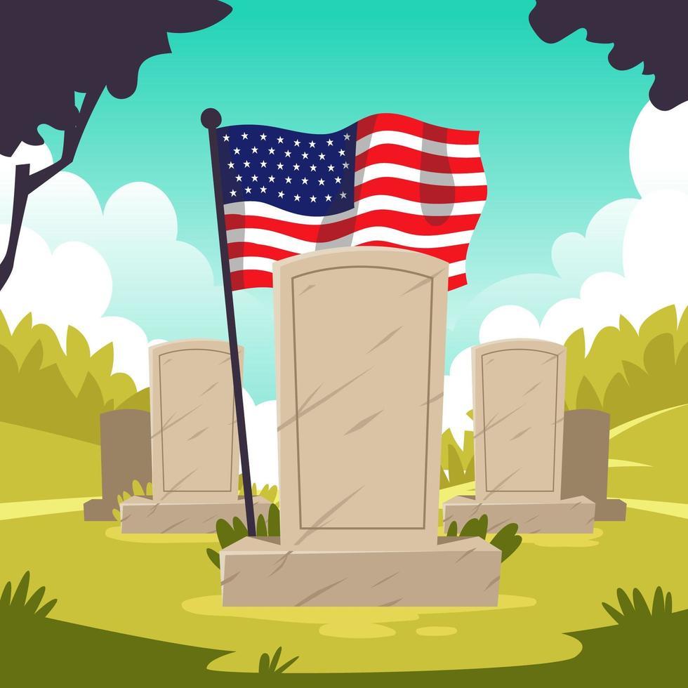 Mémorial du cimetière des vétérans avec drapeau américain vecteur