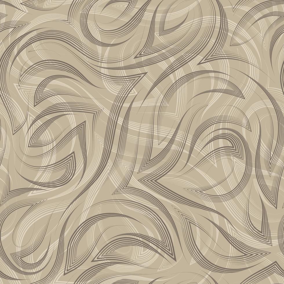 lignes lisses marron et coins vectoriels motif sans soudure géométrique sur fond beige. motif fluide gracieux et rayures vecteur