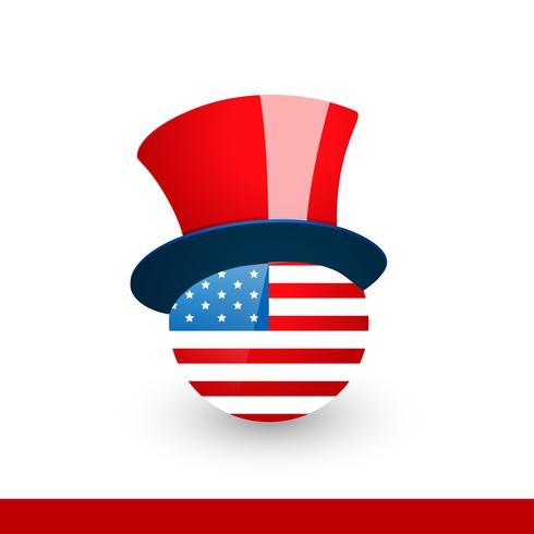 drapeau américain avec chapeau vecteur