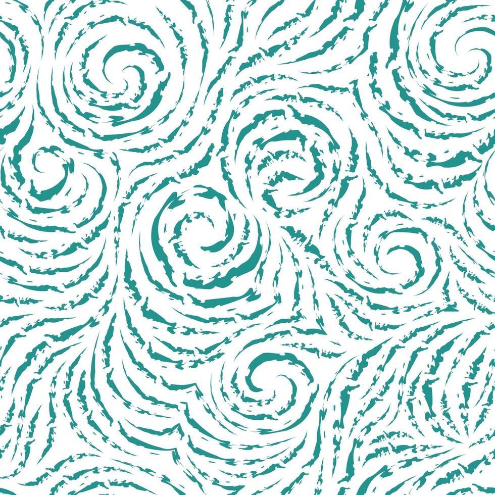 motif turquoise vectorielle continue de lignes brisées sous la forme de cercles et de spirales. Texture bleue pour la finition des tissus ou du papier d'emballage sur fond blanc vecteur