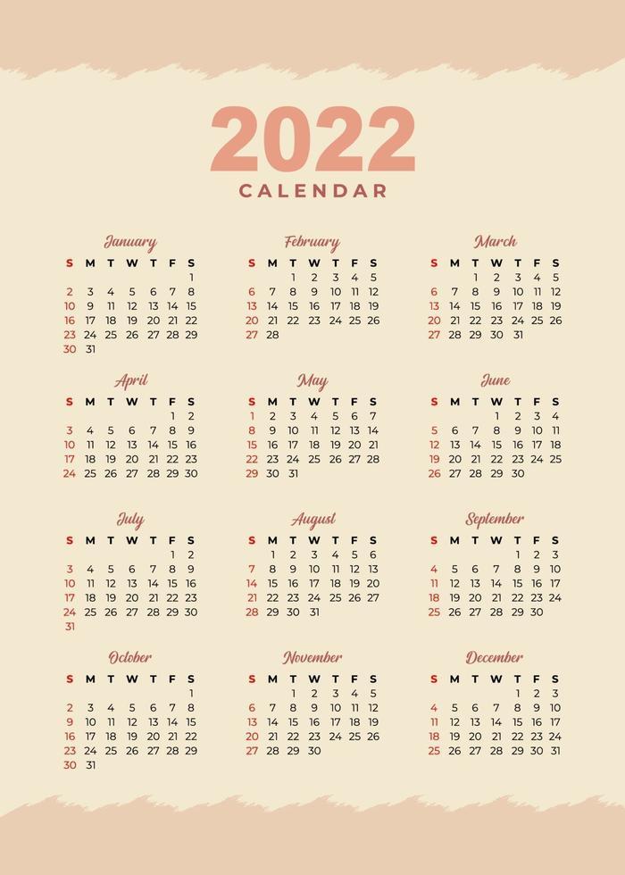 Calendrier 2022 Vectoriel Gratuit Modèle de conception de calendrier 2022 2198758   Telecharger